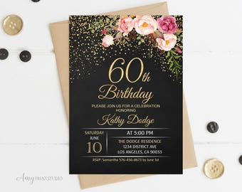 60th Birthday Invitation, Floral Women Birthday Invitation, Chalkboard Birthday Invite, PERSONALIZED, Digital file, #W16