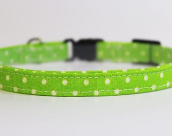 Cat Collar | Bright Lime Green with White Polka Dots | Handmade | Adjustable