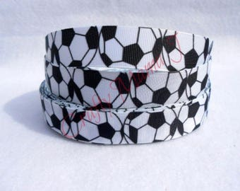 """Soccer Balls on White 7/8"""" Grosgrain Ribbon by the yard. Choose between 3/5/10 yards."""