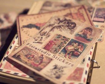 LOMO Vintage Sticker Pack, Vintage style, Vintage stamp,poster,map stickers