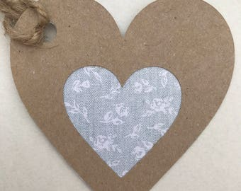 Gift tags - Handmade tags - Ditsy floral cut out heart tags - Wedding Favor tags - Vintage tags - Heart tags - Birthday tags - Scrapbooking