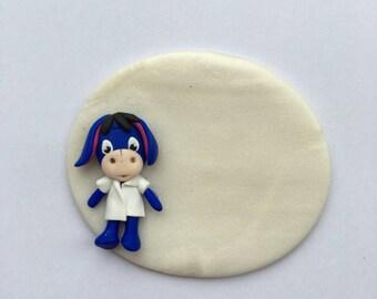polymer clay donkey nurse badge