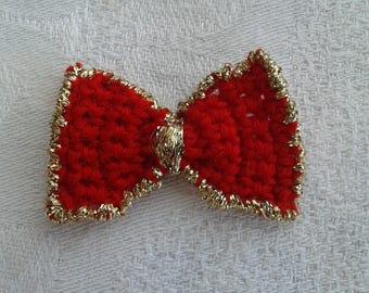 set of 3 bow ties red and gold