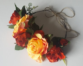 Flower crown, rose, autumn colours, photo prop, wedding, maternity, races, articial floral, engagement, party, red rose, orange rose