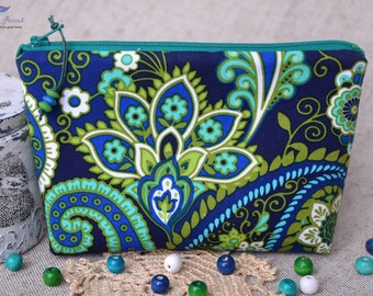 Handmade Cosmetic bag Blue, Cosmetic Pouch, Makeup Bag, Cosmetic Bag, Pencil Pouch, Toiletry Bag, Zipper Pouch, Pencil Case, Makeup Case