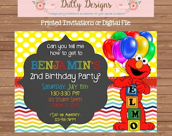 Elmo Birthday Invitation, Elmo Birthday Invite, Elmo Birthday Party Invitation, Elmo Birthday Party Invite, Elmo Invitation, Elmo Invite