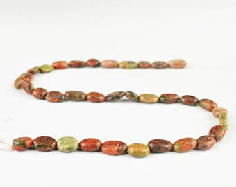 """Oval Shape Blood Green Unakite Strand of 13"""" Inches"""
