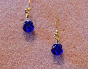 Cobalt Blue Drop Earrings--Hypoallergenic