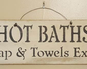 Hot Bath Wood and Wire Sign Olde Parchment