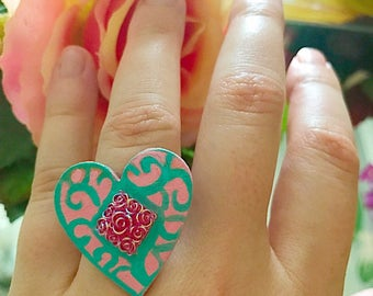 Teal and Pink Heart Ring