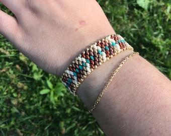 Snakeskin Beaded Cuff Bracelet
