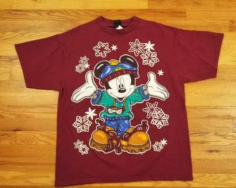 Vintage 90s Mickey Mouse Disney Winter Snowbaording Shirt Size XL