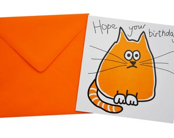 SINGLE CAT/DOG birthday card with coloured envelope