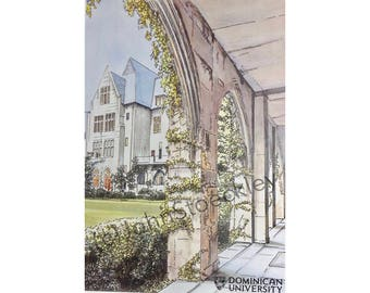 Dominican University LIMITED EDITION Pen and Ink and Watercolor Art Print Illustration - Graduation Gift, Alumni