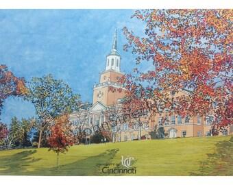 University of Cincinnati LIMITED EDITION Pen and Ink and Watercolor Art Print Illustration - Graduation Gift, university