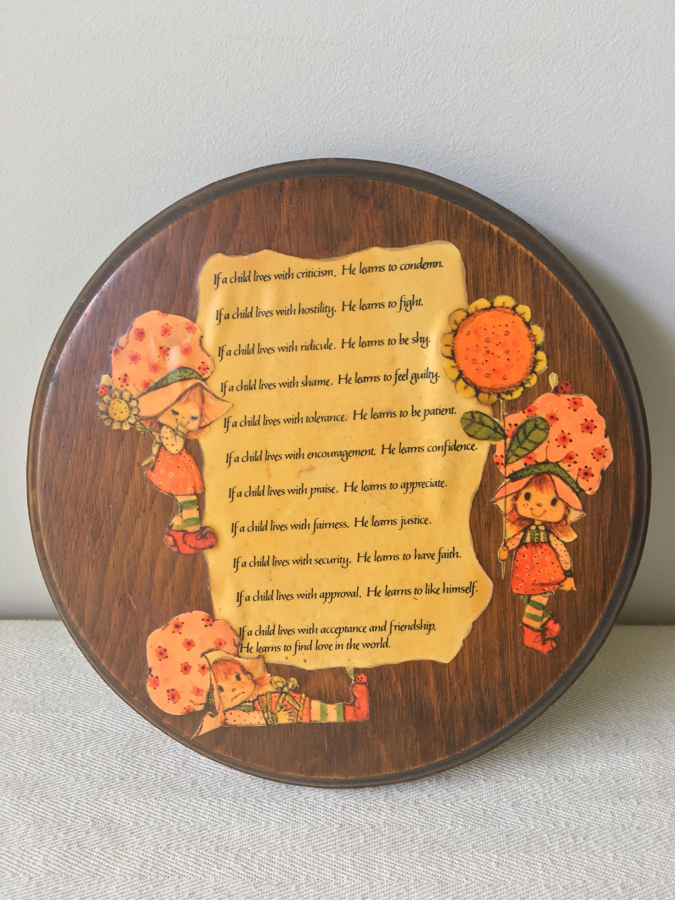 Vintage Strawberry Shortcake wall plaque with poem ...