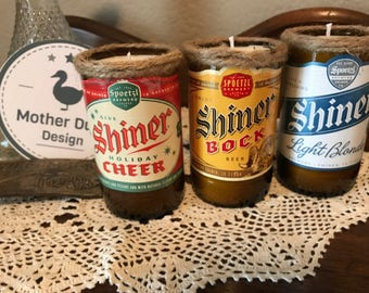 Re-purposed Shiner Bock Bottle Assortment, 3-Candle Set in Ginger Scent