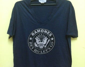 Rare!! Ramones T-Shirt V-Neck(big) Tag Chazzz One Size Made in Usa