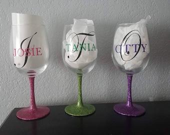 Personalized Glitter Wine Glasses, Personalized Wine Glass, Wine Glasses