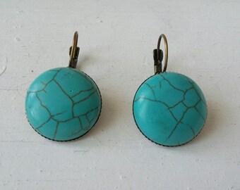 Earrings 20mm blue howlite beads
