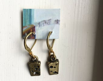 Gold Cheese Drop Earrings