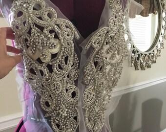 Long Rhinestone Embroidery Beads Applique Bridal Wedding Gown Applique Party Dress Applique Sleeves Applique Project Accessories Applique
