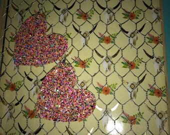 Glittler love earrings, glitter earrings, glitter hearts, glitter heart earrings, glitter canvas earrings
