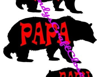 Mama Papa and Baby Bear SVG / PNG File