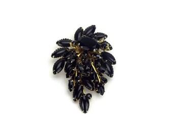Large Layered Black Rhinestone Brooch, Unsigned Black Pin, Vintage Costume Jewelry