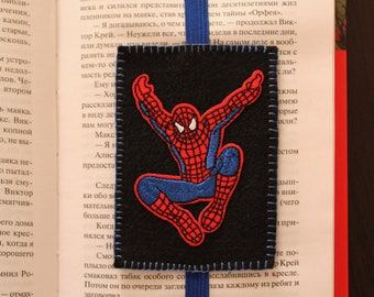 Handmade felt bookmark with elastic and Spiderman applique, bookmark for kids/ students