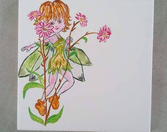Flower fairy house number plaque