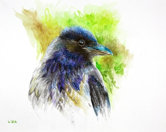 Grey Crow In Blues Raven Original Watercolor Painting High Quality Giclée Print canvas, home decor office nursery animal art gift art PRINT
