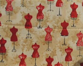 Fabric cotton Kaufman beige red models