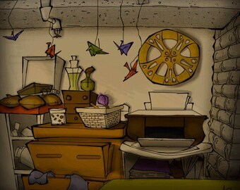 Everything I Was, 11x9, small, cartoon, painting, dorm, college, meditation, paper cranes