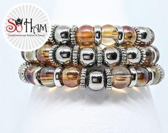 Crystal bracelet-elastic accounts, Ocre, litmus, gift for women.