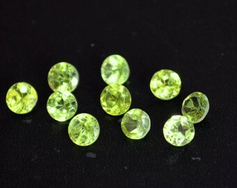 Natural 3 mm round peridot  faceted high quality gemstone