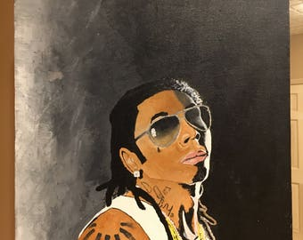 Hand painted Lil Wayne canvas
