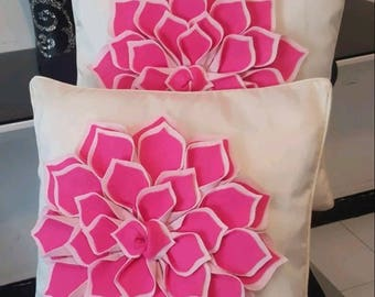 Limited Edition, Designer, 3D Handmade Pink Petals/Flower Decorative  Faux Silk Cushion Cover