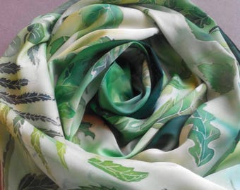 Stoles Scarves silk scarves forest forest green tippet silk wrap silk flowers  made of natural silk