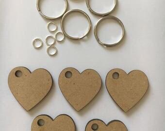 Heart key lring key fob set 5 pack