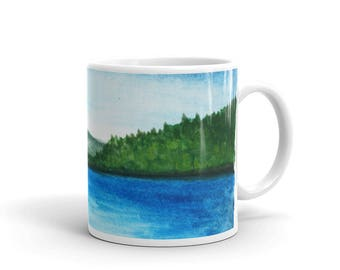 Lake landscape original unique watercolor painting white glossy mug