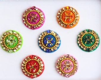 7 Bollywood Wedding Round Bindis Stones Design,Velvet Multicolor Bindis,Colorful Face Bindis,Bollywood Bindis,Self Adhesive Stickers