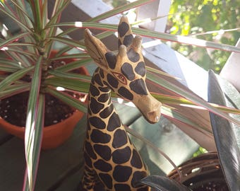 Vintage wooden giraffe, hand carved wood giraffe