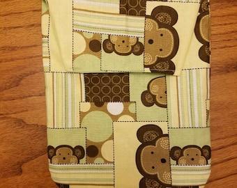 Monkey diaper/ wipe bag