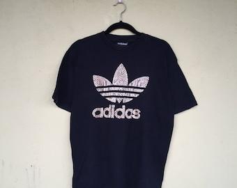 Rare!!Black Crew Neck Tees ADIDAS TREFOIL Printed Big Logo Adidas Trefoil Clothing Size Large