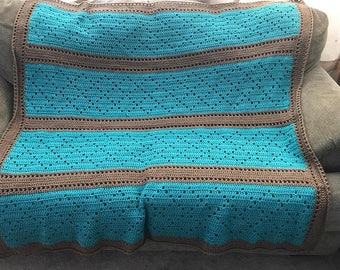 Crocheted Turquoise and Brown Diamond Stitch Blanket