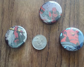 """Lot of 3 Hellboy 1.5"""" Pinback Buttons Pins Comic Book Super Hero Mike Mignola"""