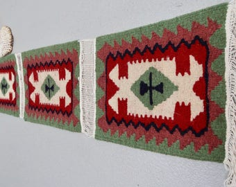 South American Woven Table Runner, Wall Tapestry, Wall Hanging, Green, Red