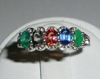 Emerald, Kyanite, & Color Change Sapphire Sterling Silver Multi Color Ring