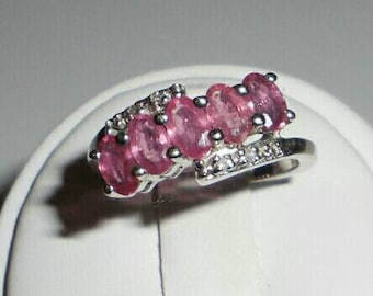 Natural Pink Sapphire and White Topaz Sterling Silver Ring